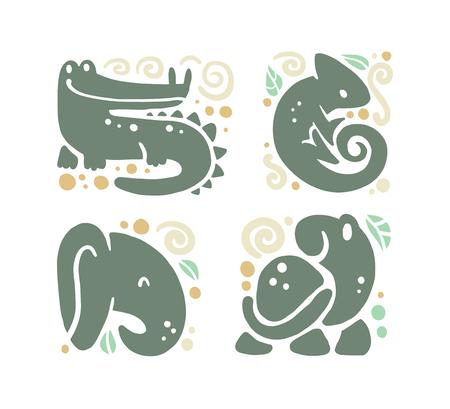 Vector plat schattig grappig hand getekend dier silhouet geïsoleerd op een witte achtergrond - krokodil, kameleon, olifant en schildpad. Perfect voor kinderartikelen winkellogo insignes, kinderkleding en accessoires. Stock Illustratie