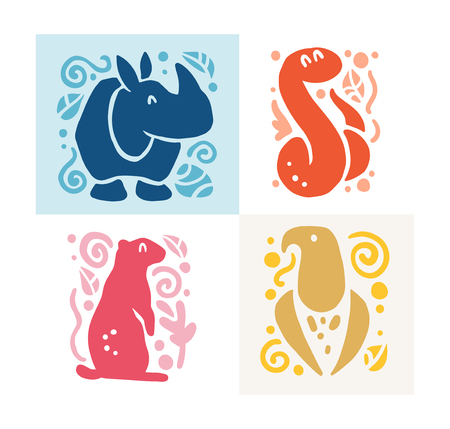 Vector flat cute funny hand drawn animal silhouette isolated on white background - rhino, snake, eagle and gopher. Perfect for children goods store logo insignia, kid clothes and accessory prints, zoo