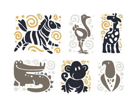 Vector flat cute funny hand drawn animal silhouette isolated on white background - zebra, ostrich, giraffe, crocodile, monkey and eagle. Perfect for children toys store logo, kid clothes and accessory