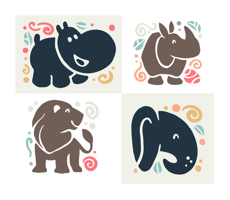 Vector flat cute funny hand drawn animal silhouette isolated on white background - hippo, rhino, lion and elephant. Perfect for children goods store logo, kid clothes and accessory prints, zoo logo. Illustration
