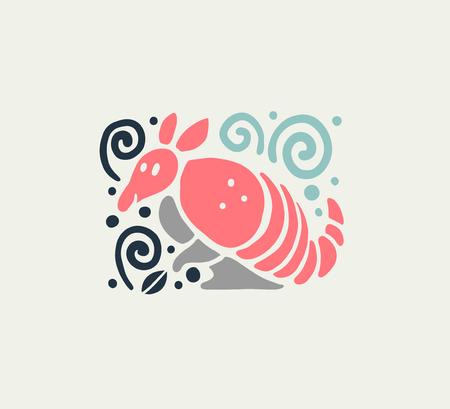 Vector plat schattig grappig hand getekend gordeldier dier silhouet geïsoleerd op een witte achtergrond. Perfect voor insignes van kinderartikelen, winkelpictogrammen, kinderkleding en accessoires, dierentuinpictogram enz.