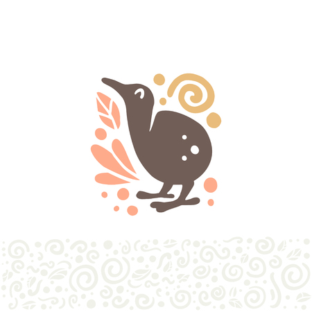Vector flat cute funny hand drawn cute kiwi bird silhouette isolated on white background. Perfect for children goods store icon insignia, kid clothes and accessory prints, zoo icon etc.