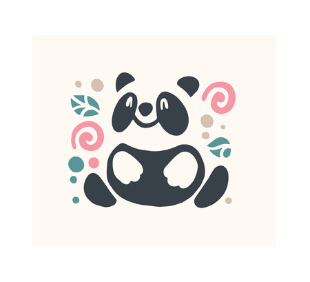 Vector flat cute funny hand drawn panda bear animal silhouette isolated on white background. Perfect for children goods store icon insignia, kid clothes and accessory prints, zoo icon etc.