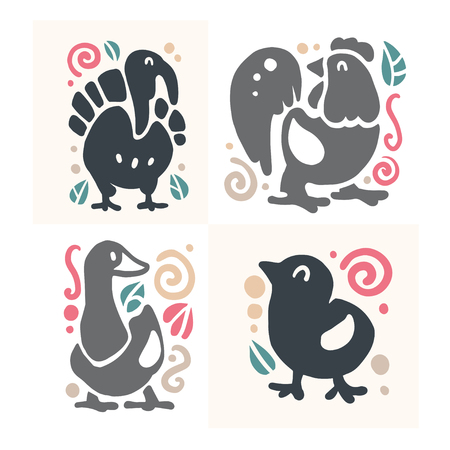 Vector flat cute funny hand drawn animal silhouette isolated on white background - turkey, cockerel, goose and chicken. Perfect for children goods shop  kid clothes and accessory prints Illustration
