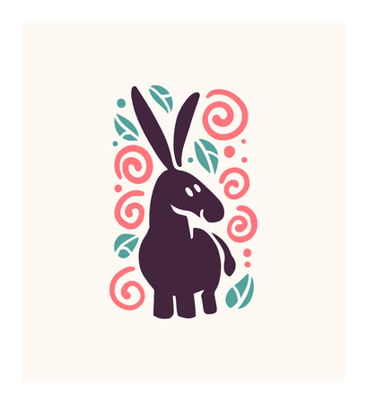 Vector flat cute funny hand drawn donkey animal silhouette isolated on white background. Perfect for children goods store   insignia, kid clothes and accessory prints Vectores