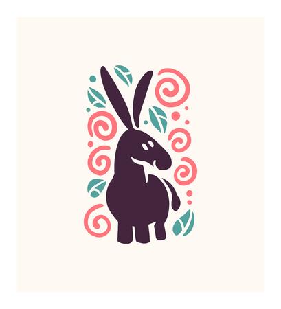 Vector plat schattig grappig hand getekend ezel dier silhouet geïsoleerd op een witte achtergrond. Perfect voor insignes voor kinderartikelen, kinderkleding en prints met accessoires Stock Illustratie