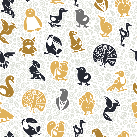 flat seamless pattern with cute funny hand drawn birds silhouette isolated on white background. Illustration