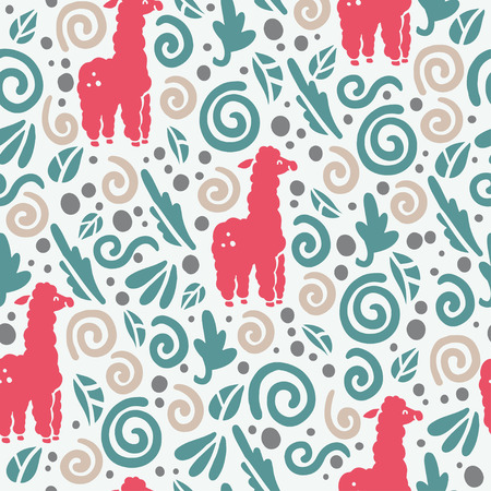 flat seamless pattern with cute funny hand drawn lama animals silhouette and floral ornament isolated on white background.