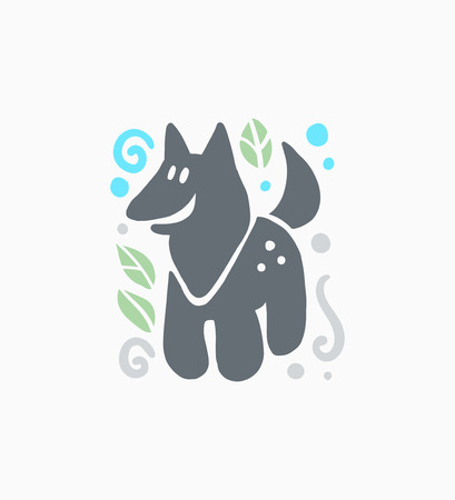 Vector flat cute funny hand drawn smiling wolf animal silhouette isolated on white background. Perfect for children goods store logo insignia, kid clothes and accessory prints, zoo logotype etc. Illustration