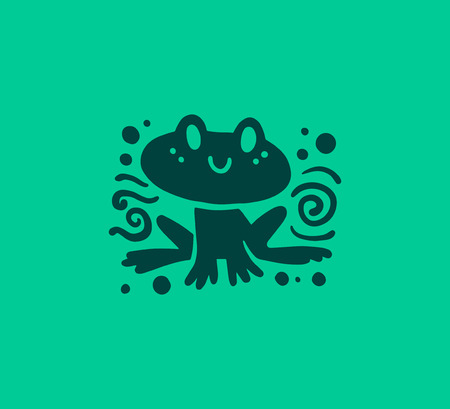 Vector flat cute funny hand drawn frog animal silhouette smiling isolated on green background. Perfect for children goods store logo insignia, kid clothes and accessory prints, zoo logotype etc. Illustration