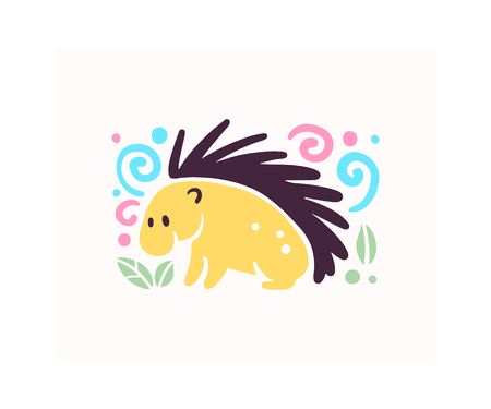 Vector flat cute funny hand drawn porcupine animal silhouette isolated on white background. Perfect for children goods store logo insignia, kid clothes and accessory prints, zoo logotype etc.