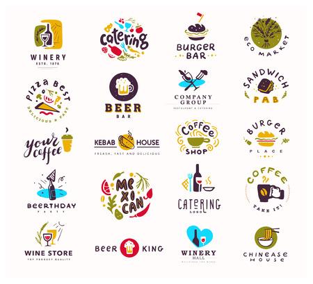 Collection de nourriture plate de vecteur et jeu de logo d'alcool isolé sur fond blanc. Éléments dessinés à la main, icônes de plat. Parfait pour le restaurant, le café, les bars de restauration et les bannières d'insignes de restauration rapide, symboles. Banque d'images - 95019568