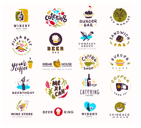 Collection of vector flat food and alcohol logo set isolated on white background. Hand drawn elements, dish icons. Perfect for restaurant, cafe, catering bars and fast food insignia banners, symbols. Vettoriali