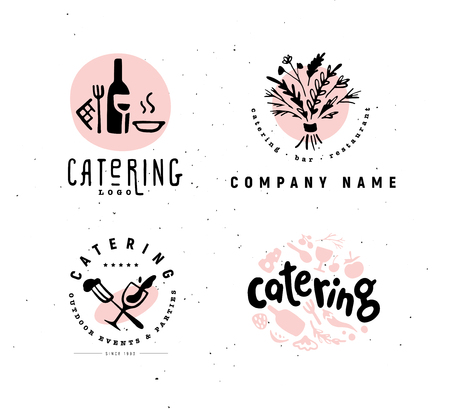 Collection of vector catering and restaurant company logo set