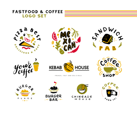Collection of vector flat fast food and coffee logo set