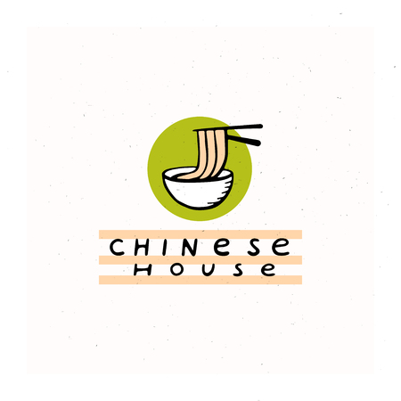 Vector flat hand drawn chinese food restaurant logo with sticks and noodle and bowl isolated on white textured background. Outline food icon. National cookery. Fast food logotype design.