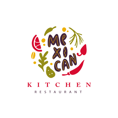 Logo de restaurant de cuisine mexicaine dessiné main Vector avec légumes, épices et lettrage isolé sur fond texturé blanc. Icône de nourriture plate. Cuisine nationale. Conception de logo de restauration rapide. Logo