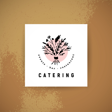 Vector catering and restaurant company logo set isolated on white background. Hand drawn food elements, dish icons. Perfect for restaurant, cafe, catering bars insignia banners, symbols.