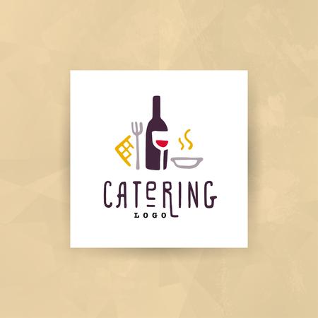 ベクターケータリングとレストラン会社のロゴセットは、白い背景に分離されています。