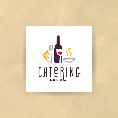 Vector catering and restaurant company logo set isolated on white background. 일러스트