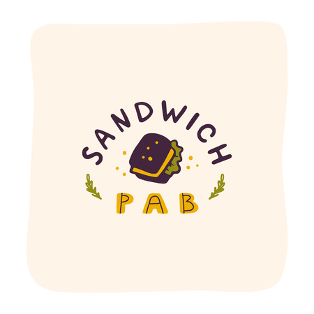 Vector sandwich pub logo design isolated on white background. Fast food icon hand drawn - sandwich symbol. Good for cafe, fast food service insignia, banner, advertising.