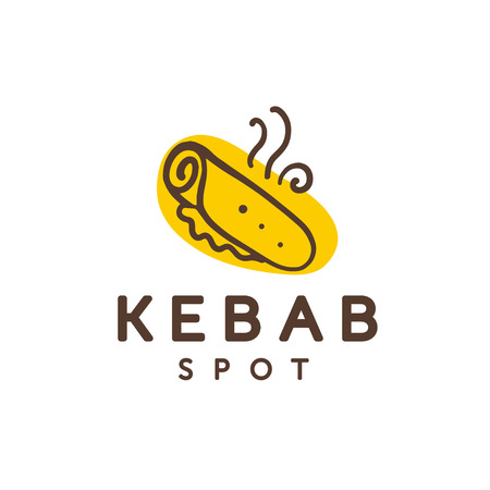 Vector kebab spot logo design isolated on white background. Fast food icon hand drawn - kebab symbol. Good for cafe, fast food service insignia, banner, advertising.