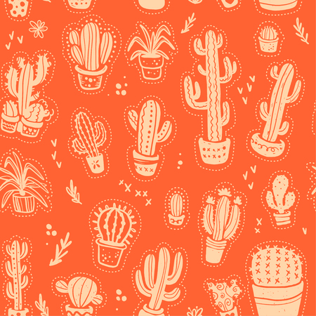 Vector seamless pattern with hand drawn cactus elements isolated on orange background. Floral desert ornament, sketch, doodle style. Cacti icon. Perfect for cards, banners, packaging paper, prints etc