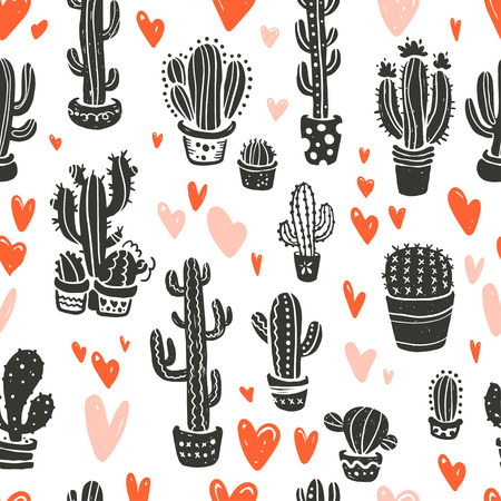Vector seamless pattern with hand drawn cactus elements & hearts isolated on white background. Floral desert ornament, sketch, doodle style. Cacti icon. Good for card, banner, packaging paper, prints.