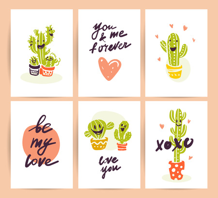 Collection of flat vector cute love cards with funny hand drawn cacti icons and portraits, lettering congratulations and heart shapes isolated on white background. Valentines day cards, love quotes. Illustration