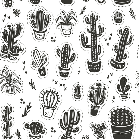 Vector seamless pattern with hand drawn cactus elements, isolated on white background. Floral desert ornament, sketch, doodle style. Cacti icon. Perfect for cards, banners, packaging paper, prints, et