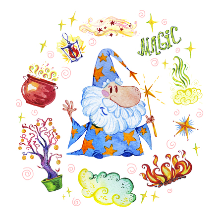 Watercolor magic illustration with hand drawn artistic elements isolated on white background - wizard, hat, wand, pot, lantern. Perfect for pattern, print, children goods media design, interior design