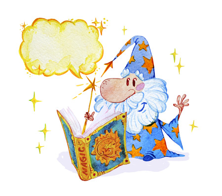 Watercolor magic illustration with hand drawn artistic elements isolated on white background - short wizard with spell book. Perfect for patterns, prints, children goods media designs, interior design Stok Fotoğraf