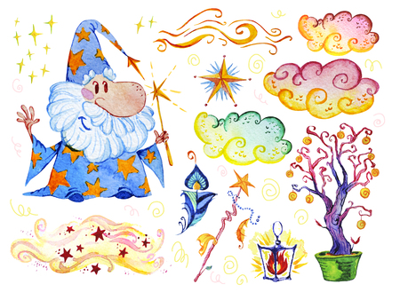 Watercolor magic illustration with hand drawn artistic elements isolated on white background - wizard, hat, wand, spell book. Perfect for patterns, prints, children goods media design, interior design Stock Photo