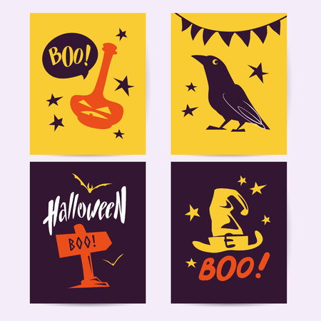 Vector collection of Halloween flat celebration cards, flayers with funny animals, traditional halloween elements and spooky party symbols isolated on black, colored background. Banner, poster design