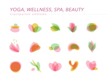 Eine Vektorsammlung transparente Schönheits-, Badekurort- und Yogasymbole in den hellen Farben lokalisiert auf weißem Hintergrund. Perfekt für Massagesalons, Wellness- und Gesundheitspflegezentren, Mode-Insignien-Design. Standard-Bild - 96364652