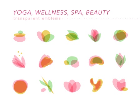A Vector collection of transparent beauty, spa, and yoga symbols in light colors isolated on white background. Perfect for massage saloon, wellness and health care centers, fashion insignia design. Illustration