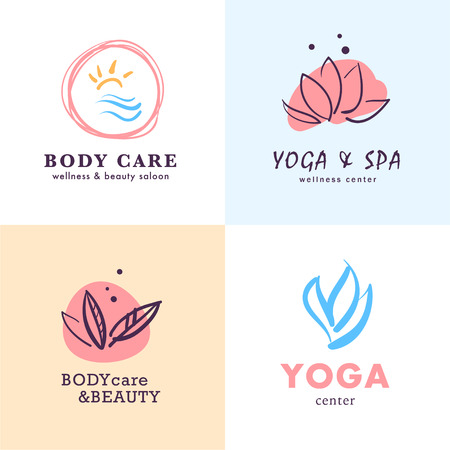 A Vector collection of yoga, beauty and spa symbols in light colors isolated on white background. Perfect for massage saloon, wellness and health care centers, fashion insignia design. Standard-Bild - 96364654