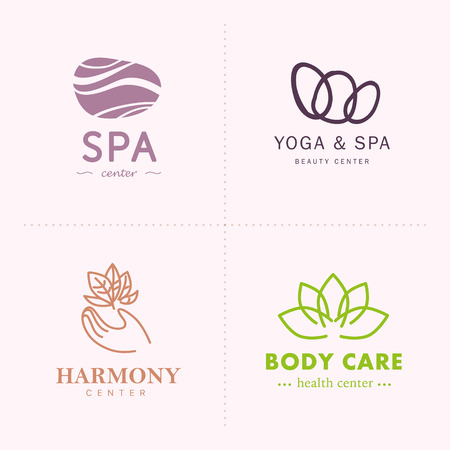 A Vector collection of yoga, beauty and spa symbols in light colors isolated on white background. Perfect for massage saloon, wellness and health care centers, fashion insignia design. Illustration