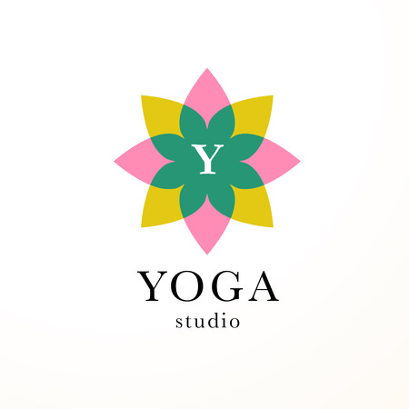 A Vector collection of yoga, beauty and spa symbols in light colors isolated on white background. Illustration