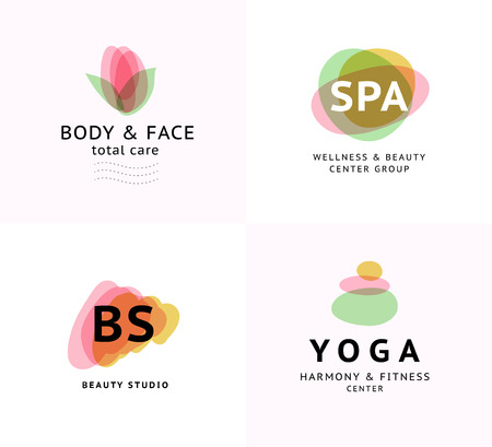 A Vector collection of transparent beauty, spa, and yoga symbols in light colors isolated on white background. Illustration