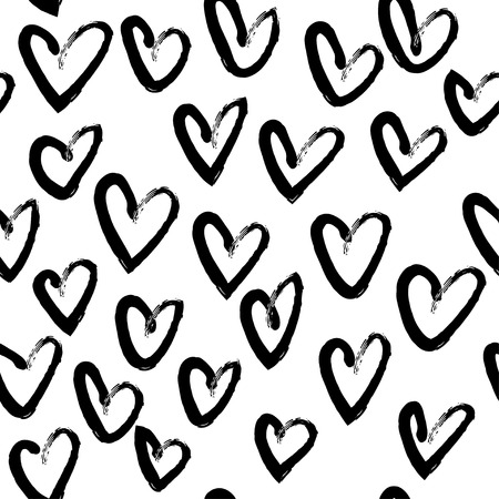 Vector hand drawn black and white seamless pattern in grunge style. Brush stroke, geometric shapes ornament illustration. Good for packaging paper, wallpaper and print design, etc. Illustration