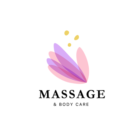 Vector transparent massage logo with lotus flower symbol in light colors isolated on white background. Perfect for beauty, spa, yoga salon, wellness and health care centers, fashion insignia design.