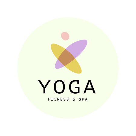Vector transparent fitness, spa, and yoga logo symbol in light colors isolated on white background. Perfect for massage saloon, beauty, wellness and health care centers, fashion insignia design.