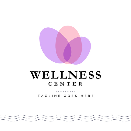 Vector wellness center logo with abstract stylized transparent flower isolated on white background. Good for beauty, spa, and yoga studio, massage salon, health care centers, fashion insignia design. Vectores