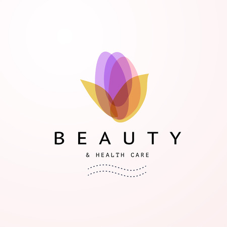 Vector transparent flower symbol - beauty, spa, and health care logo in light colors isolated on white background. Perfect for massage salon, wellness and beauty centers, fashion insignia design.
