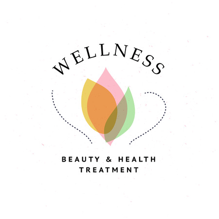 Vector wellness center logo with abstract stylized flower isolated on textured background. Also good for beauty, spa, and yoga studio, massage salon, health care centers, fashion insignia design.
