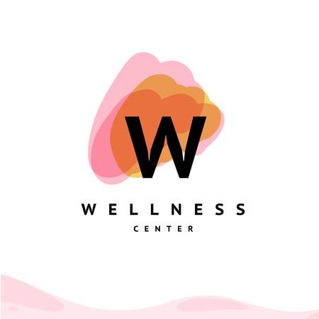 Vector wellness center logo with abstract brush strokes isolated on white background. Also good for beauty, spa, and yoga studio, massage salon, health care centers, fashion insignia design.