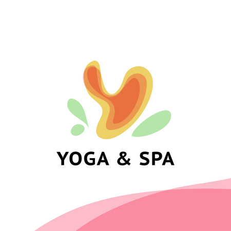 Vector transparent yoga, beauty, and spa symbols in light colors isolated on white background. Illustration