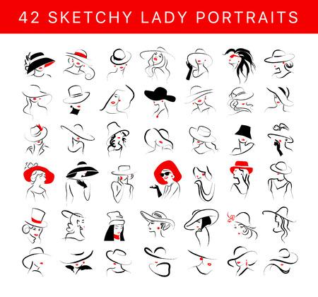 Wektor artystyczny ręcznie rysowane stylowy portret młodej damy zestaw na białym tle. Ikona modelu dziewczyna moda. Kobieta w kapeluszu. Ilustracja uroda, plakat mody, afisz, baner.