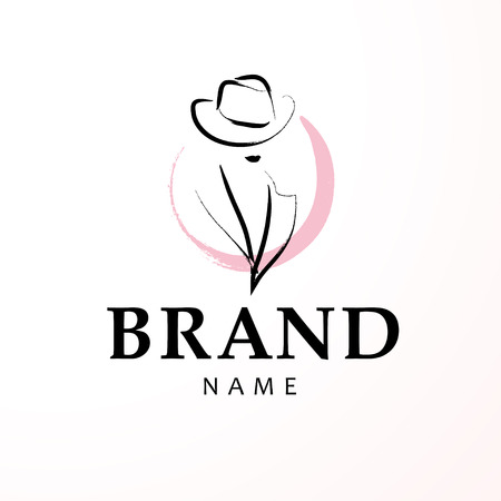 Vector artistic logo with hand drawn lady in hat portrait isolated on white background. Illustration